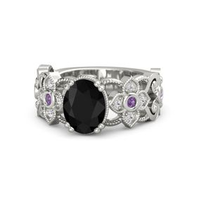 Oval Black Onyx 14K White Gold Ring with Amethyst and White Sapphire