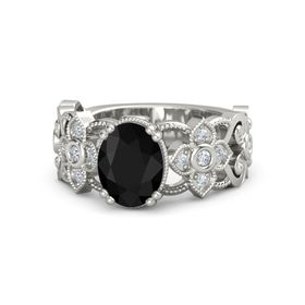 Oval Black Onyx 14K White Gold Ring with Diamond