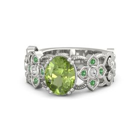 Oval Peridot 14K White Gold Ring with White Sapphire and Emerald