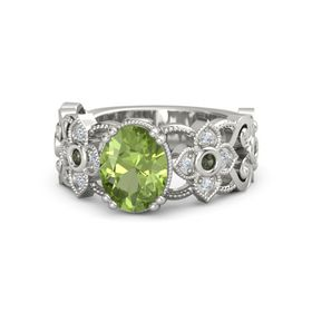 Oval Peridot 14K White Gold Ring with Green Tourmaline and Diamond