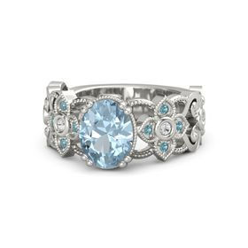 Oval Aquamarine 14K White Gold Ring with White Sapphire and London Blue Topaz