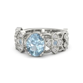 Oval Aquamarine 14K White Gold Ring with Blue Topaz and White Sapphire