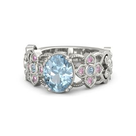 Oval Aquamarine 14K White Gold Ring with Blue Topaz and Pink Sapphire