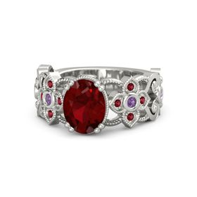 Oval Ruby 14K White Gold Ring with Amethyst and Ruby