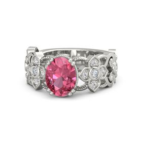 Oval Pink Tourmaline 14K White Gold Ring with Diamond & White Sapphire