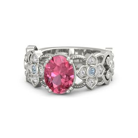 Oval Pink Tourmaline 14K White Gold Ring with Blue Topaz & White Sapphire