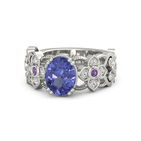 Oval Tanzanite 14K White Gold Ring with Amethyst and White Sapphire