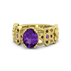 Oval Amethyst 14K Yellow Gold Ring with Amethyst and Red Garnet
