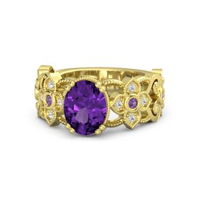 Oval Amethyst 14K Yellow Gold Ring with Amethyst and White Sapphire
