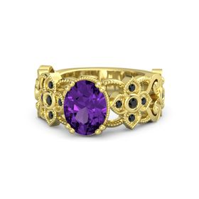 Oval Amethyst 14K Yellow Gold Ring with Black Diamond