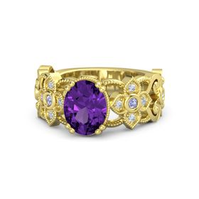 Oval Amethyst 14K Yellow Gold Ring with Tanzanite and Diamond