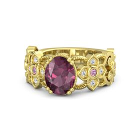 Oval Rhodolite Garnet 14K Yellow Gold Ring with Pink Tourmaline and White Sapphire