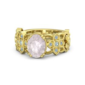 Oval Rose Quartz 14K Yellow Gold Ring with Aquamarine and Blue Topaz