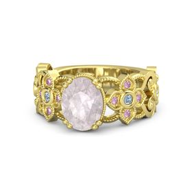 Oval Rose Quartz 14K Yellow Gold Ring with Blue Topaz and Pink Sapphire