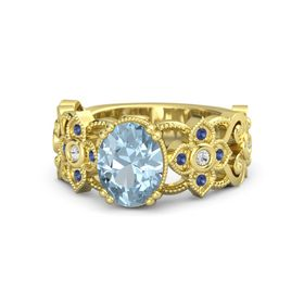Oval Aquamarine 14K Yellow Gold Ring with White Sapphire & Sapphire