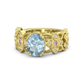 Oval Aquamarine 14K Yellow Gold Ring with Pink Sapphire and White Sapphire