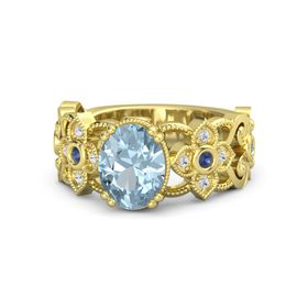 Oval Aquamarine 14K Yellow Gold Ring with Blue Sapphire and White Sapphire