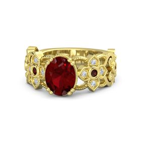 Oval Ruby 14K Yellow Gold Ring with Red Garnet and Diamond