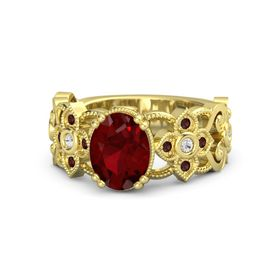 Oval Ruby 14K Yellow Gold Ring with White Sapphire & Red Garnet