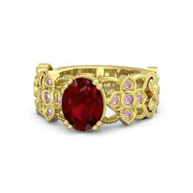 Oval Ruby 14K Yellow Gold Ring with Pink Sapphire