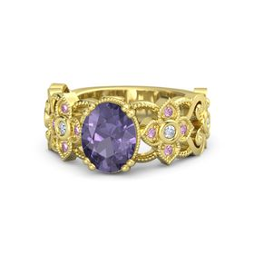 Oval Iolite 14K Yellow Gold Ring with Diamond and Pink Sapphire