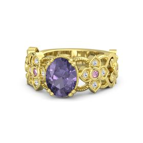Oval Iolite 14K Yellow Gold Ring with Pink Sapphire & White Sapphire