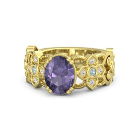 Oval Iolite 14K Yellow Gold Ring with Aquamarine & White Sapphire