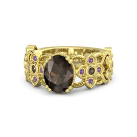 Oval Smoky Quartz 14K Yellow Gold Ring with Smoky Quartz and Amethyst