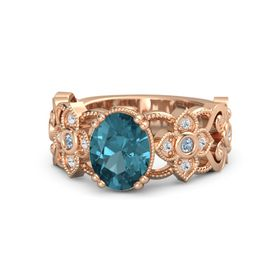 Oval London Blue Topaz 18K Rose Gold Ring with Blue Topaz and White Sapphire