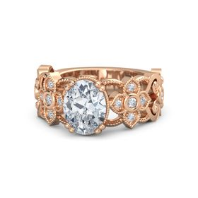 Oval Diamond 18K Rose Gold Ring with Diamond