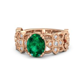 Oval Emerald 18K Rose Gold Ring with Diamond