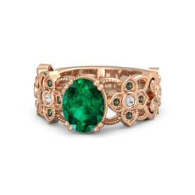 Oval Emerald 18K Rose Gold Ring with White Sapphire & Green Tourmaline
