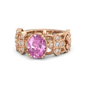 Oval Pink Sapphire 18K Rose Gold Ring with Diamond