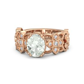 Oval Green Amethyst 18K Rose Gold Ring with Diamond