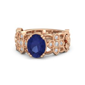 Oval Sapphire 18K Rose Gold Ring with Diamond