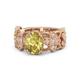 Oval Yellow Sapphire 18K Rose Gold Ring with Diamond
