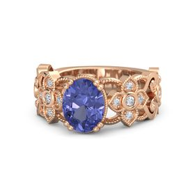 Oval Tanzanite 18K Rose Gold Ring with Diamond