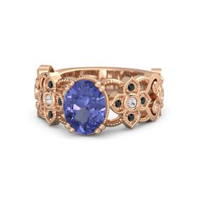Oval Tanzanite 18K Rose Gold Ring with White Sapphire and Black Diamond