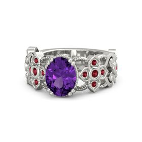 Oval Amethyst 18K White Gold Ring with Ruby
