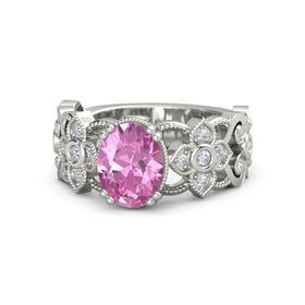 Oval Pink Sapphire 18K White Gold Ring with Diamond
