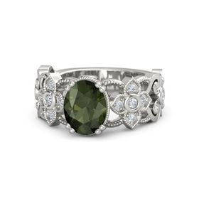 Oval Green Tourmaline 18K White Gold Ring with Diamond