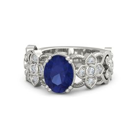 Oval Sapphire 18K White Gold Ring with Diamond
