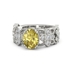 Oval Yellow Sapphire 18K White Gold Ring with Diamond