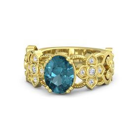 Oval London Blue Topaz 18K Yellow Gold Ring with Diamond and White Sapphire