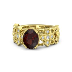 Oval Red Garnet 18K Yellow Gold Ring with Diamond