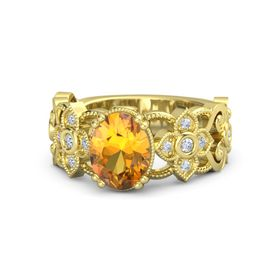 Oval Citrine 18K Yellow Gold Ring with Diamond