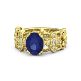 Oval Sapphire 18K Yellow Gold Ring with Diamond