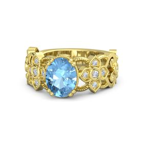 Oval Blue Topaz 18K Yellow Gold Ring with Diamond