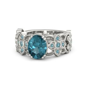Oval London Blue Topaz Platinum Ring with London Blue Topaz