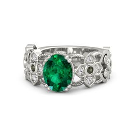 Oval Emerald Platinum Ring with Green Tourmaline and White Sapphire